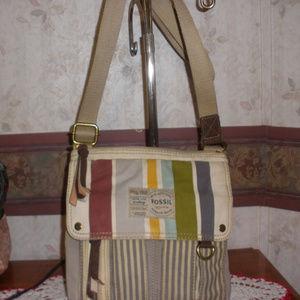 Fossil Long Live Vintage Stripe Canvas  Bag
